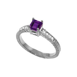 Genuine 0.65 ctw Amethyst & Diamond Ring 14KT White Gold - REF-69F6Z