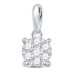 Diamond Flower Cluster Pendant 1/5 Cttw 14kt White Gold
