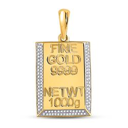 Bar Charm Pendant 3/8 Cttw 10kt Yellow Gold