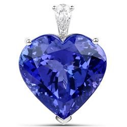 35.27 ctw Tanzanite & Diamond Pendant 18K White Gold - REF-2455N8A