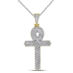 Mens Diamond Ankh Cross Religious Charm Pendant 3/8 Cttw 10kt Yellow Gold