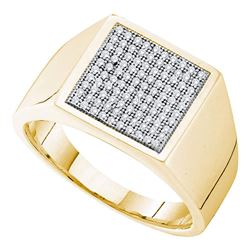 Mens Round Pave-set Diamond Square Cluster Ring 1/3 Cttw 10kt Yellow Gold