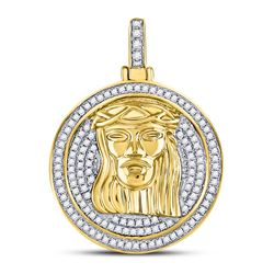 Mens Diamond Jesus Circle Medallion Charm Pendant 5/8 Cttw 10kt Yellow Gold