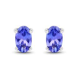 0.50 ctw Tanzanite Earrings 14K White Gold - REF-11X6Y