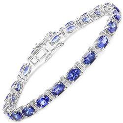 9.43 ctw Tanzanite & Diamond Bracelet 14K White Gold - REF-154F2W