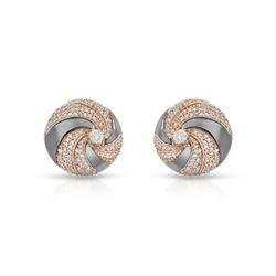 1.02 CTW Diamond Earrings 14K 2Tone Rose Gold - REF-77Y5X