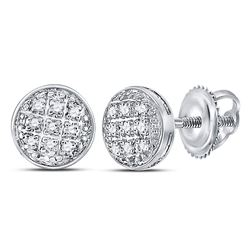 Mens Diamond Circle Cluster Earrings 1/20 Cttw 10kt White Gold