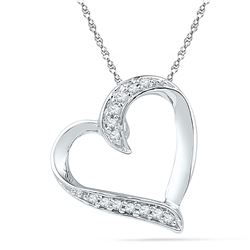 Diamond Heart Pendant 1/20 Cttw 10kt White Gold