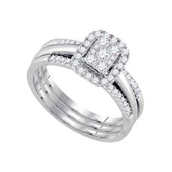 Diamond Cluster Amour Bridal Wedding Engagement Ring Band Set 1/2 Cttw 14kt White Gold