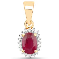 0.62 ctw Ruby & White Diamond Pendant 14K Yellow Gold - REF-28M2F