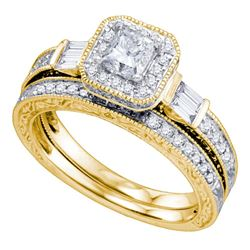 Diamond Bridal Wedding Engagement Ring Band Set 1-1/5 Cttw 14kt Yellow Gold