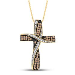 Round Brown Diamond Bound Cross Pendant 1/2 Cttw 14kt Yellow Gold
