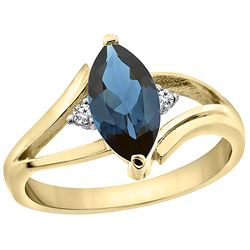 1.24 CTW London Blue Topaz & Diamond Ring 10K Yellow Gold - REF-23F3N