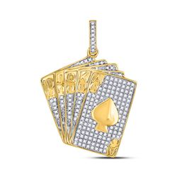 Mens Diamond Royal Flush Charm Pendant 5/8 Cttw 10kt Yellow Gold