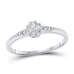 Diamond Solitaire Bridal Wedding Engagement Ring 1/20 Cttw 10kt White Gold