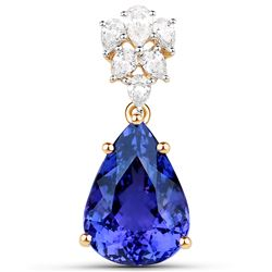11.79 ctw Tanzanite & Diamond Pendant 18K Yellow Gold - REF-1101Y6N