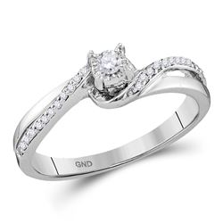 Diamond Solitaire Bridal Wedding Engagement Ring 1/8 Cttw 10kt White Gold