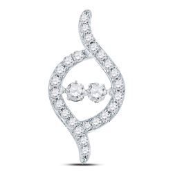 Diamond Moving Twinkle 2-stone Pendant 1/2 Cttw 14kt White Gold