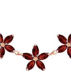 Genuine 4.2 ctw Garnet Necklace 14KT Rose Gold - REF-60W7Y
