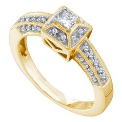 Diamond Solitaire Bridal Wedding Engagement Ring 1/3 Cttw 14kt Yellow Gold
