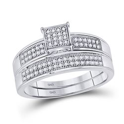 His & Hers Diamond Cluster Matching Bridal Wedding Ring Band Set 1/3 Cttw 10kt White Gold