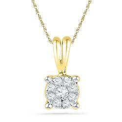 Diamond Cluster Pendant 1/10 Cttw 10kt Yellow Gold
