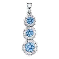 Round Blue Color Enhanced Diamond Triple Cluster Trinity Pendant 1 Cttw 14kt White Gold