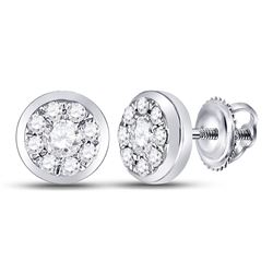 Diamond Solitaire Circle Frame Stud Earrings 1/4 Cttw 14kt White Gold