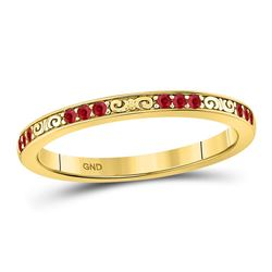 Round Ruby Single Row Flourished Stackable Band Ring 1/8 Cttw 10kt Yellow Gold