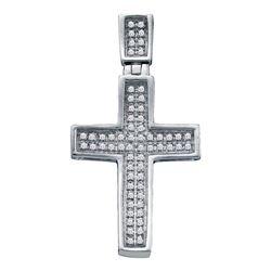 Mens Diamond Small Cross Charm Pendant 1/6 Cttw 10kt White Gold