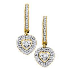 Diamond Heart Dangle Earrings 3/4 Cttw 10kt Yellow Gold