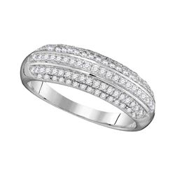 Round Pave-set Diamond Striped Band Ring 1/2 Cttw 10kt White Gold