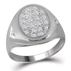 Mens Diamond Oval Cluster Ring 1/4 Cttw 10kt White Gold