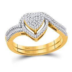 Diamond Heart Cluster Bridal Wedding Engagement Ring Band Set 1/3 Cttw 10kt Yellow Gold