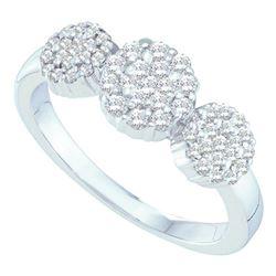 Diamond Triple Flower Cluster Ring 1/2 Cttw 14kt White Gold