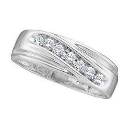 Mens Round Channel-set Diamond Wedding Anniversary Band Ring 1/4 Cttw 14kt White Gold