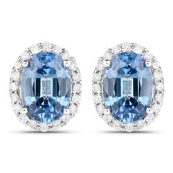 2.16 ctw Sapphire Blue & Diamond Earrings 14K White Gold - REF-47M2F