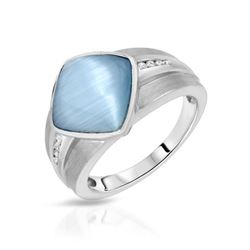 4.96 CTW Blue Sapphire & Diamond Ring 14K White Gold - REF-48Y9X