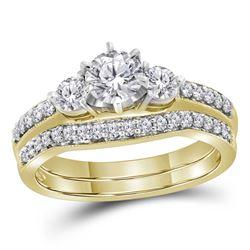 Diamond 3-stone Bridal Wedding Engagement Ring Band Set 1.00 Cttw 14kt Yellow Gold