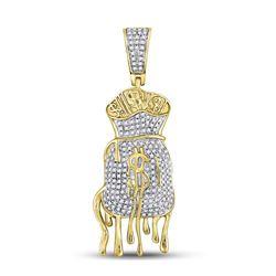 Mens Diamond Dripping Money Bag Charm Pendant 1/2 Cttw 10kt Yellow Gold
