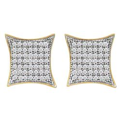 Diamond Square Kite Cluster Screwback Earrings 3/8 Cttw 10kt Yellow Gold