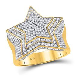 Mens Diamond Statement Cluster Star Ring 1-3/4 Cttw 10kt Yellow Gold