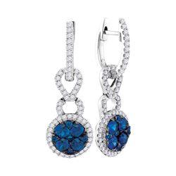 Round Blue Sapphire Cluster Diamond Frame Dangle Earrings 5/8 Cttw 14kt White Gold
