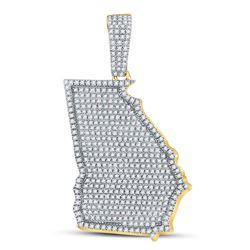 Mens Diamond State of Georgia Charm Pendant 3/4 Cttw 10kt Yellow Gold