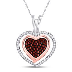 Round Red Color Enhanced Diamond Heart Pendant 1/4 Cttw 10kt White Rose Gold