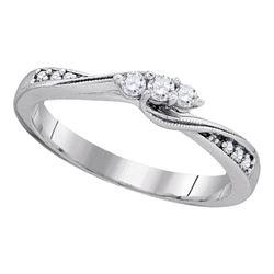 Diamond 3-stone Bridal Wedding Engagement Ring 1/6 Cttw 10kt White Gold