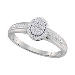 Diamond Cluster Bridal Wedding Engagement Ring 1/6 Cttw 10kt White Gold
