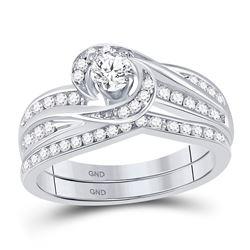 Diamond Swirl Bridal Wedding Engagement Ring Band Set 1/2 Cttw 10k White Gold