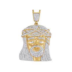Mens Diamond Jesus Christ Messiah Charm Pendant 1-1/4 Cttw 10kt Yellow Gold