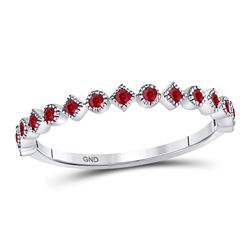 Round Ruby Square Dot Stackable Band Ring 1/5 Cttw 10kt White Gold